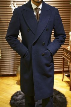 blue double breated peak label overcoat